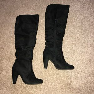 Shoes - Black suede knee high boots